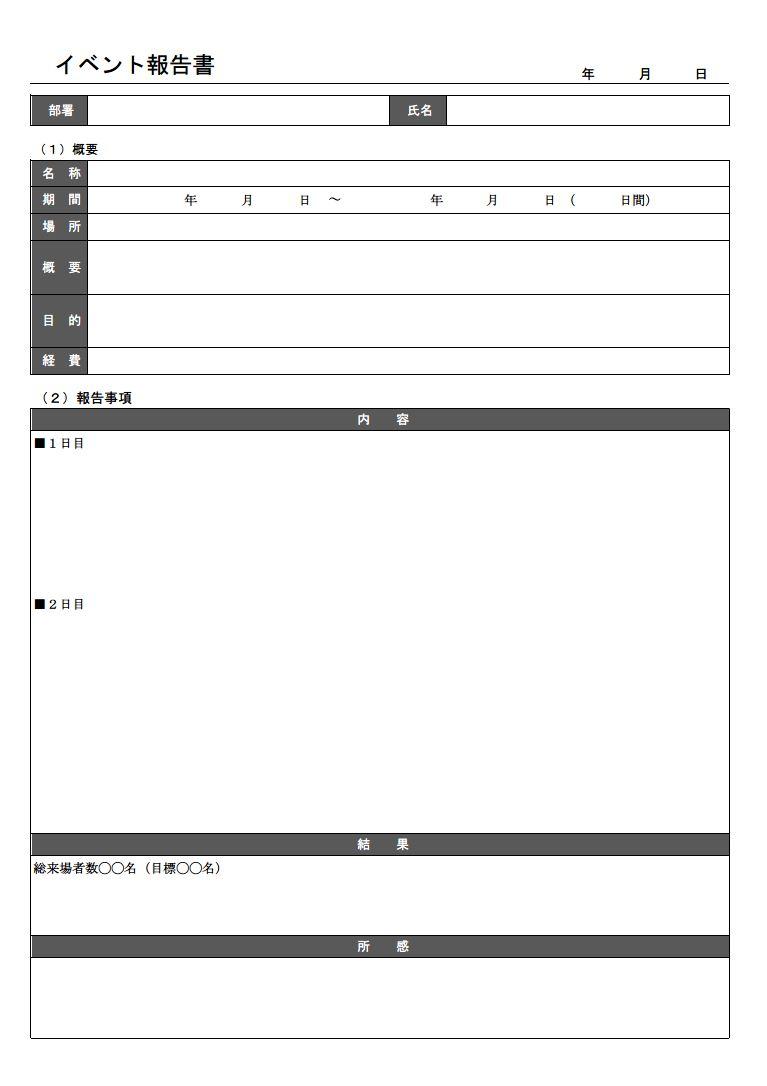イベント報告書 キャンペーン報告書の書き方 書式 様式 フォーマット