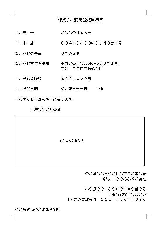 株式会社―変更の登記―商号の変更...